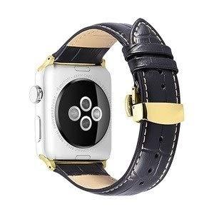 Wilbur - Correa para Apple Watch (resistente al sudor, 38 mm, 40 mm, 42 mm, 44 mm), Negro con bronceado, 42mm case