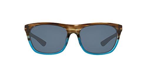 Costa Del Mar Women's Cheeca Square Sunglasses, Shiny Wahoo/Grey Polarized 580P, 57 mm