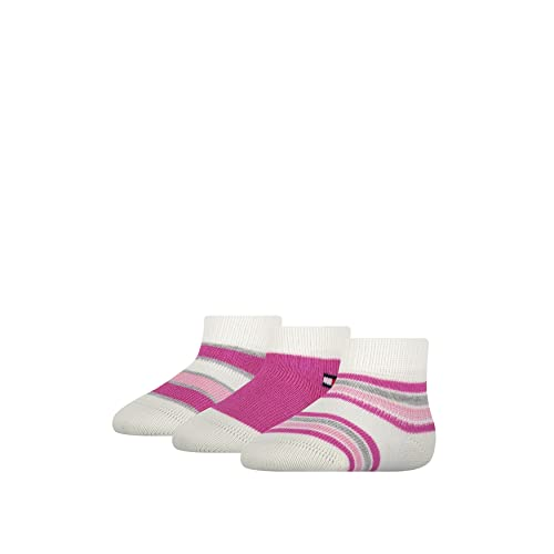 Tommy Hilfiger Newborn Stripe Socks Gift Box Calcetín clásico, Pink Combo, 14 para Bebés