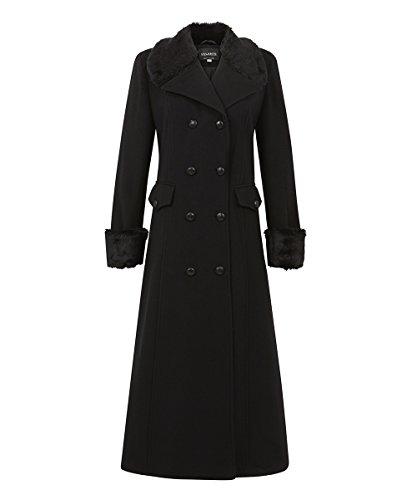 Anastasia - Damen Winter Wolle Cashmere Langen Mantel mit Kunstpelzkragen, Schwarz, Größe 36