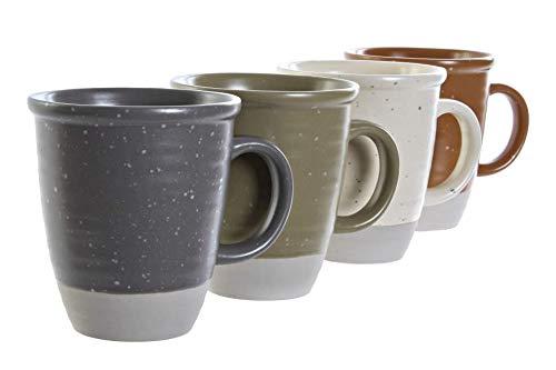 Preciosas Tazas de Cerámica Vintage de Color Sólido Naranja, Gris, Verde y Blanco Diseños Únicos para Desayuno Café con Leche Original y Moderno – 340ml - 1Unid. – 13x9x10,5 cm. (Gris)