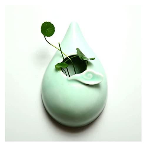 Macetas colgantes y cestas para colgar en la pared, macetas de cerámica con forma de gota de agua, florero decorativo para plantas de interior, macetas colgantes para plantas (color: B)