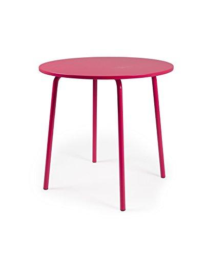 Tenzo LOLLY Designer Table Ronde, Acier, Rouge, 90 x 90 x 76 cm