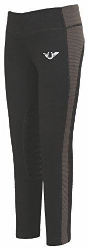 TuffRider Children's Ventilated Schooling Riding Tights|Color-BlackCharcoal|Size-X-Large