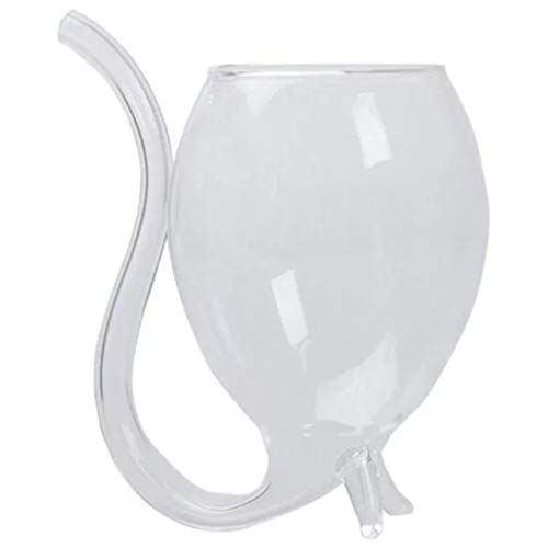 Vaso de vino con pajita, 1 pieza de 300 ml/11 oz creativo vampiro diablo claro cóctel jugo vino tinto whisky taza tubo boquilla de paja vidrio resistente al calor
