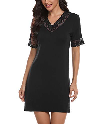 Hawiton Damen Nachthemd Sexy Spitze Nachtwäsche Baumwolle Kurzarm Sommer Freizeitkleid Kleid V-Ausschnitt Sleepshirt Sleepwear Schwangere Schlafshirt