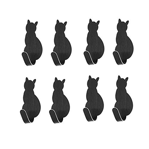 Perchero de Pared 8 unids ganchos pegajosos creativos gato en forma de clavo uñas sin acero inoxidable ganchos adhesivo toalla de toalla de pared ganchos montados en la pared Decoración Ganchos para A