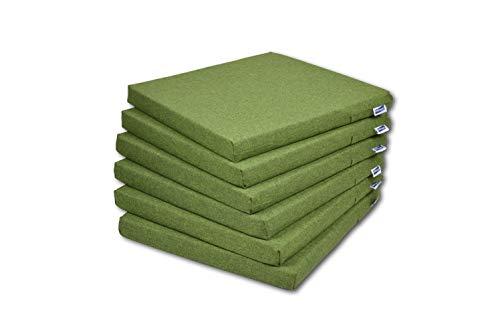 Rollmayer 6er Set Stuhlkissen Stuhlauflage Sitzkissen Sitzpolster Auflage für Stühle in Haus und Garten Kollektion Melange (Grün 333, 40x40x4cm)