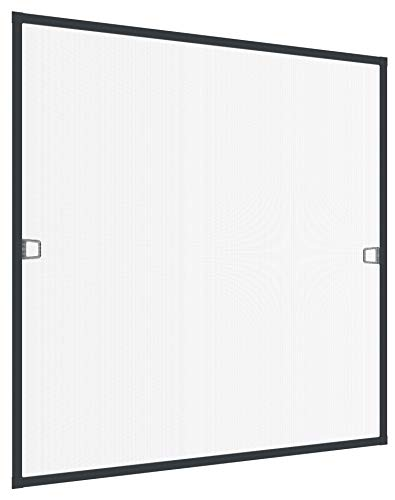 Rhino Screen Insektenschutz Spannrahmen Fliegengitter für Fenster Fenstergitter Fliegenschutz, aus Aluminium, anthrazit, 130 x 150 cm, 04313