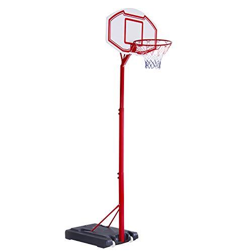 HOMCOM Canasta de Baloncesto con Altura Ajustable de 210-260 cm con Soporte Metal y Base Rellenable para Niños y Adultos Rojo