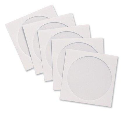 DragonTrading, 50 buste di carta bianca per CD/DVD/Bluray con finestra trasparente
