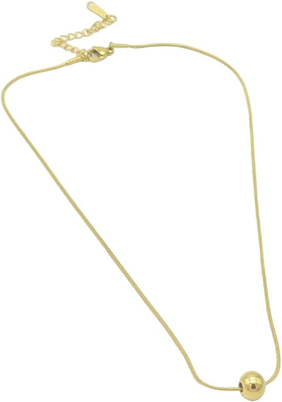 DOEPC Gold Plated Round Bead Pendant Necklace, Suitable For Women And Girls On Any Occasion, Made Of Titanium Steel,The Color Will Stay Good