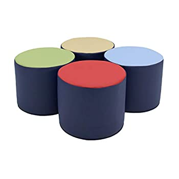 FDP SoftScape 15 inch Round Two-Tone Accent Ottoman for Kids  Modern Children s Furniture Flexible Lightweight Foam Seating Set for Home Playroom Classroom Library  4-Piece  - Navy