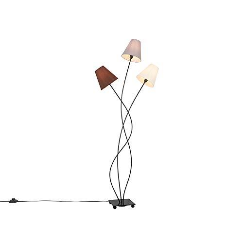 QAZQA Moderno Design vloerlamp zwart 3-lichts - Melis Acero/Textil Alargada Adecuado para LED Max. 3 x 40 Watt