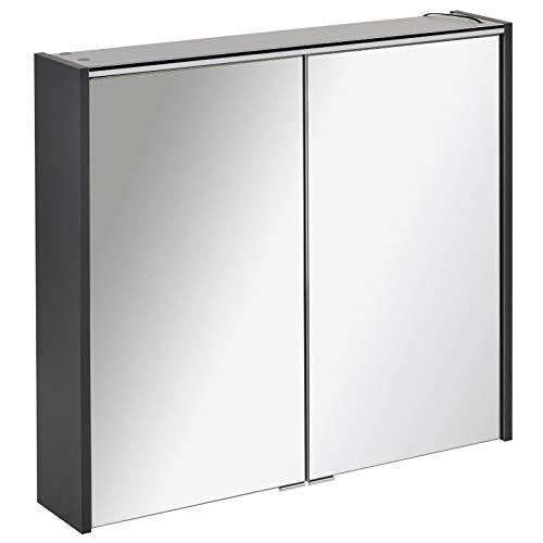 FACKELMANN tweedeurs spiegelkast badkamer LED-verlichting 80 cm antraciet mat Denver