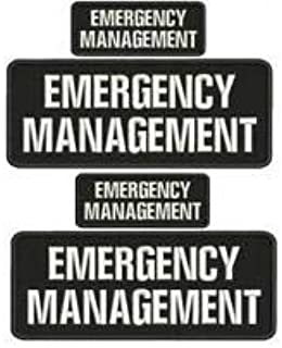 emergency management embroidery patch 4x10 /& 2x5 hook on back blk//white /& BLK//GR