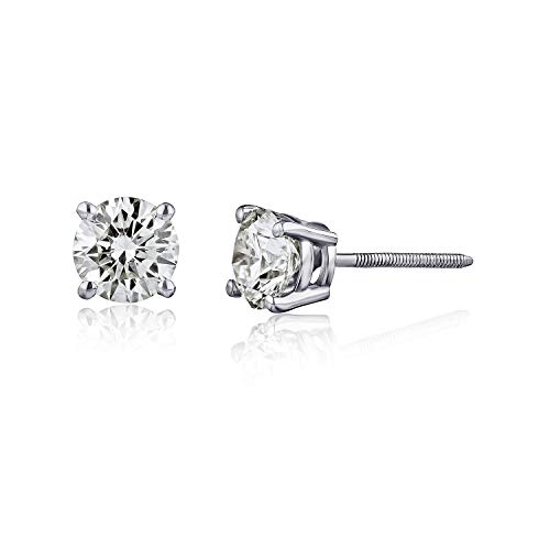 The Diamond Channel 1/4cttw Diamond Stud Earrings for Women - AGS Certified Real Diamond Earring Pair with Screw Back & Post Studs - 14K White Gold Diamond Studs - Fine Jewelry for Women & Men