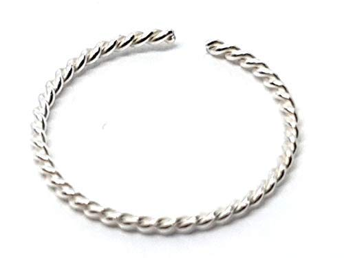 Eclectic Shop Uk Sterling Silver Tiny Small Nose Ring Small Delicate Fine Twisted Wire 7mm 22g (0.6mm) Sterling Silver Specialised Small Twist Ring Body Jewellery Ladies Womens Mens Gift