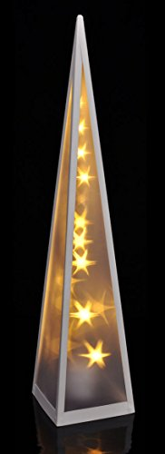 LED Pyramide 60 cm mit rotierenden Sternen - 20 warmweiße LEDs - Deko Stern Lichtkegel inkl. Holografie Effekt