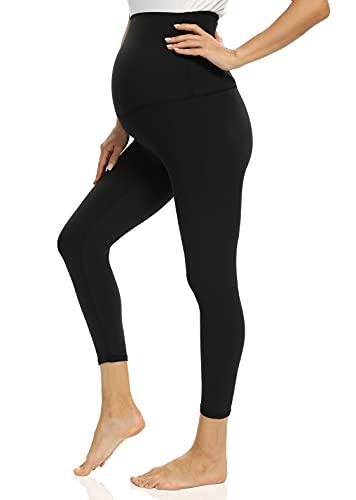 Foucome Damen Umstands-Capri-Leggings über dem Bauch, Schwangerschaft, aktives Workout, Yoga Strumpfhosen Hosen - Schwarz - Mittel