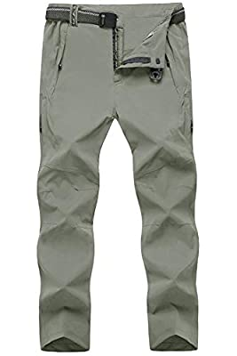 TBMPOY Men's Outdoor Lightweight Windproof Belted Quick-Dry Hiking Pants(03thin Light Grey,us L)