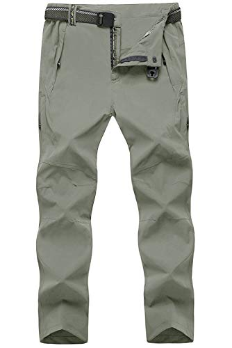TBMPOY Men's Outdoor Lightweight Windproof Belted Quick-Dry Hiking Pants(03thin Light Grey,us XL)