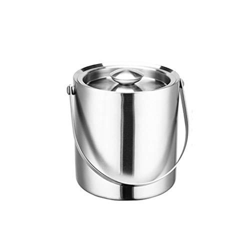 Portaghiaccio Secchio di ghiaccio 3L Benna di ghiaccio in acciaio inossidabile Benna di champagne Benna di birra (argento) Adatto per familiari Gathering Banchetto Secchio di Ghiaccio ( Size : A )