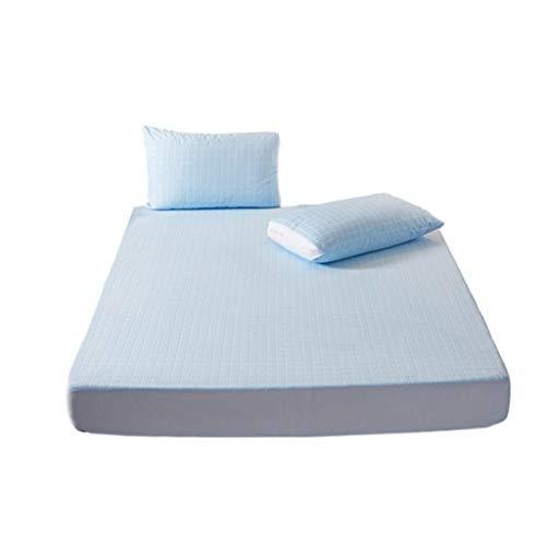 MHCYKJ Protector De Colchón Impermeable Cubrecolchón Antialérgico Suave Transpirable Lavable A Máquina Hipoalergénico Anti Ácaros Ajustable y antiácaros (Color : Blue, Size : 90x200cm)