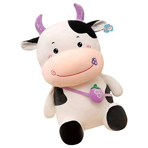 SOIMISS Vaca de peluche 2021, zodiaco chino, diseo de buey, relleno, cojn suave, decorativo, para saln, casa, coche, dormitorio, decoracin lila