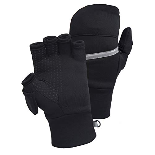 TrailHeads Men's Power Stretch Convertible Mittens | Fingerless Gloves - medium/large