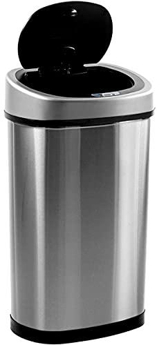 Homra FONIX Sensor Mülleimer - 50L - Hygienischer automatischer Deckel - Absenkdeckel - 50 Liter Abfalleimer - Fingerabdruckfrei - Schmutzabweisend - Hochwertiger Edelstahl - Langlebiger