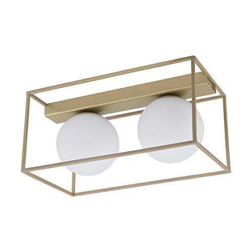 Preisvergleich Produktbild EGLO Deckenllampe Vallaspra,  2 flammige Deckenleuchte,  Material: Stahl,  Farbe: Champagner,  Glas: weiß,  opal-matt,  Fassung: E14