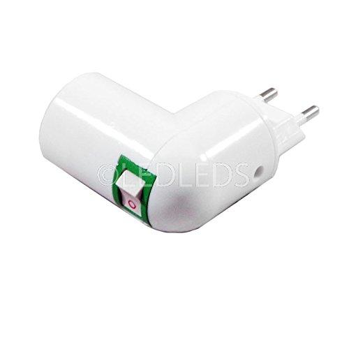 Portalámpara E14 con clavija giratoria, interruptor de encendido y apagado y adaptador