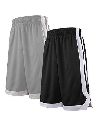 TopTie 2-Tone Basketball Shorts für Herren mit Taschen Pocket Training Shorts XL 2 Stück Schwarz/Grau
