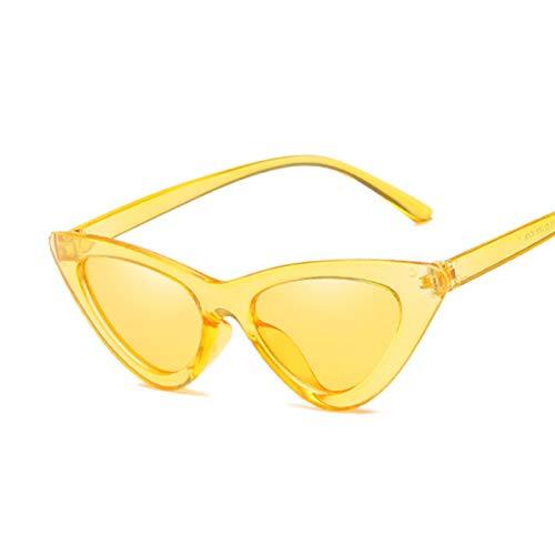 BAYSU Gafas de Sol Moda Linda Sexy señoras Gato Ojo Gafas de Sol Mujeres Vintage Retro pequeño Triangular cateye Gafas de Sol Espejo Hembra Gafas de Sol (Lenses Color : Yellow)