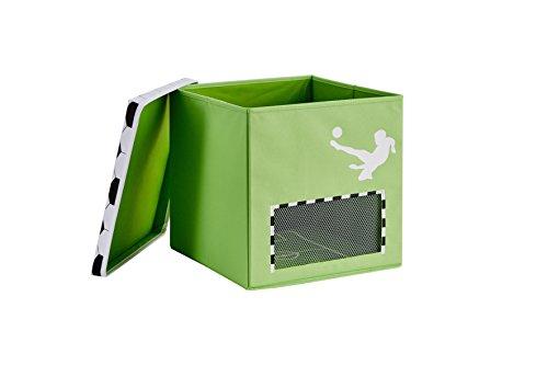 STORE.IT Spielzeugkiste mit magnetischem Tornetz, Fußball, 33x33x33cm, grün, TOOOR, MDF verstärkt