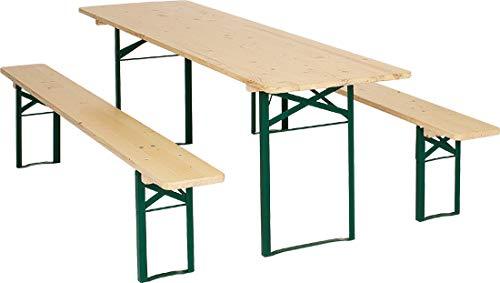 Ensemble table et bancs pliants 1 A, Qualité brasserie, Largeur de 67 cm, Hauteur de 186 cm, N'est pas un produit de magasin de bricolage/de Chine, Qualité supérieure pour le secteur professionnel de la restauration, Couleur : naturel