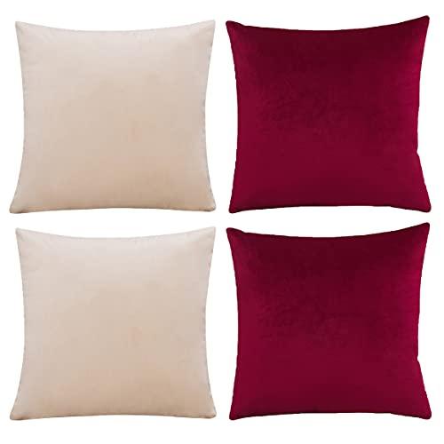 CHNSHOME Fundas de Cojines 55x55 Juego de 4 Fundas Cojines Decorativos para Sofa Terciopelo Funda Cojin Almohada de hogar Beige + Rojo Vino