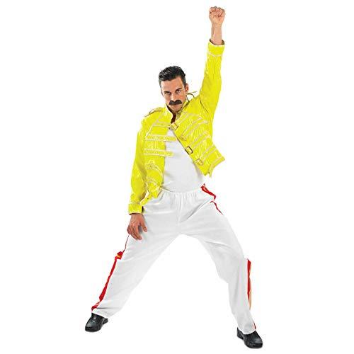 Disfraz Amarillo para Hombre Adulto de Leyenda de Cantante de una Banda de Rock de los 80, Talla M