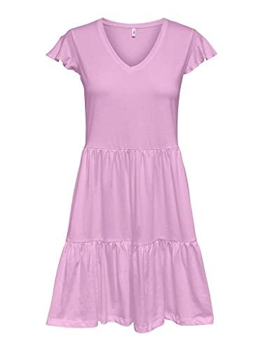 Only ONLMAY Life Cap Sleeves Frill Dress JRS Vestido, Sunshine, M para Mujer