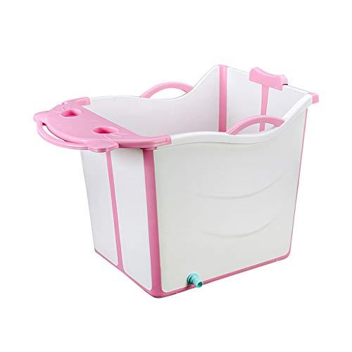 LIZHIQIANG opvouwbare kuip, baby opvouwbaar bad, inklapbaar baby bad, baby inklapbaar draagbare douche wastafel, kan zitten en liggen,2 kleuren, 56cm*40cm*55cm roze
