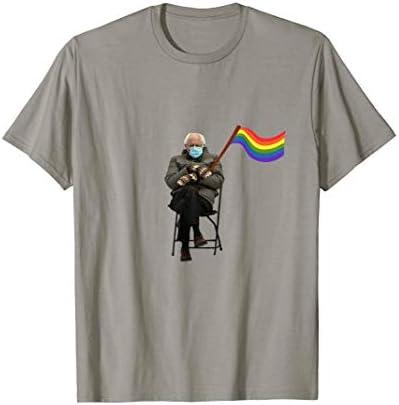 Bernie Sanders Mittens Meme LGBTQ Flag Gay Pride T Shirt product image