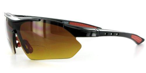 Aloha Eyewear Daredevil Mode Bifokalwillen Sonnenbrille mit Wrap-Around Sports Design und Anti-Glare Beschichtung für Junge und Aktiv (Schwarz + Rot W/Bernstein +1.50) 1.5 70 regulär Schwarz Rot