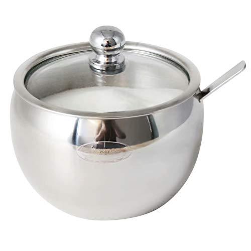 Newness Zuccheriera, Zuccheriera in Acciaio Inossidabile con Cucchiaio e Coperchio Trasparente per Cucina e Casa, 225 ML (7.6 OZ)