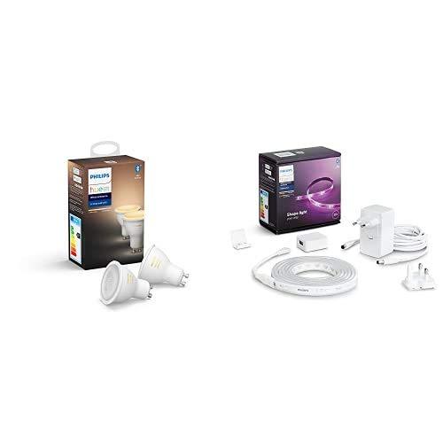 Philips Hue Pack de 2 Bombillas Inteligentes LED GU10, con Bluetooth, Luz Blanca de Cálida a Fría + Lightstrip Tira Inteligente LED 2m, con Bluetooth, Luz Blanca y Color
