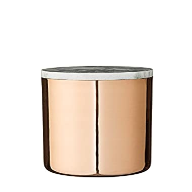 Small Metal Jar with Copper Electroplated Finish and Grey Marble Lid