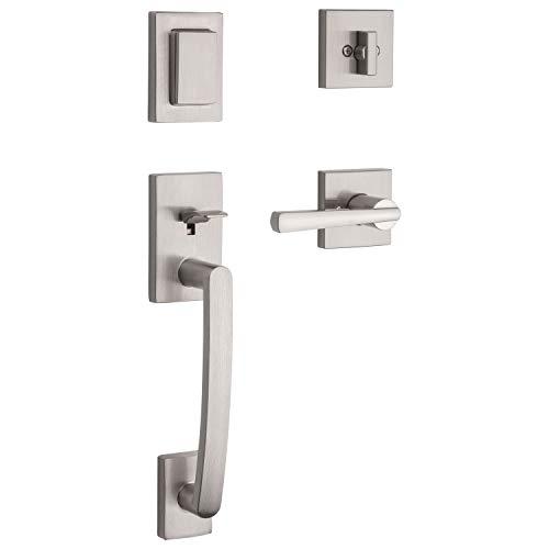 Baldwin Spyglass Single Cylinder Front Door Handleset Featuring SmartKey Security in Satin Nickel, Prestige Series with a Modern Contemporary Slim Door Handleset and Square Lever