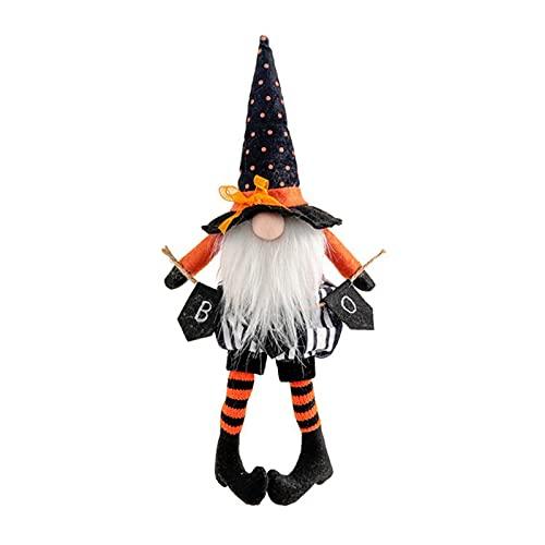 Baalaa Halloween piernas largas con escoba muñeca enana muñeca sin rostro decoración del hogar adornos de escritorio - negro