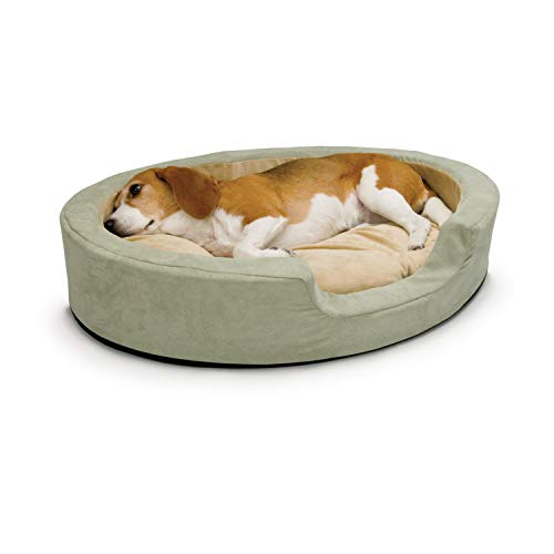 K&H Pet Products Thermo-Snuggly Sleeper Heated Pet Bed Sage Large 31 X 24 Inches, Green