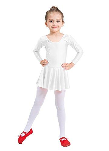 Ensnovo Girls' Spandex Long Sleeve Ballet Dress Toddler Dance Leotard White, 5XL